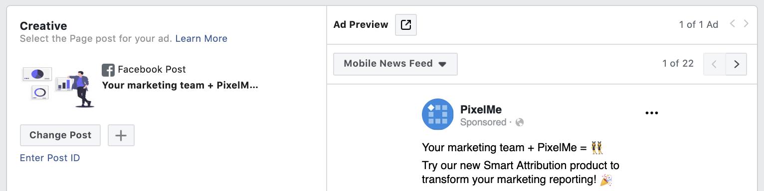 Facebook Ad - Change Post