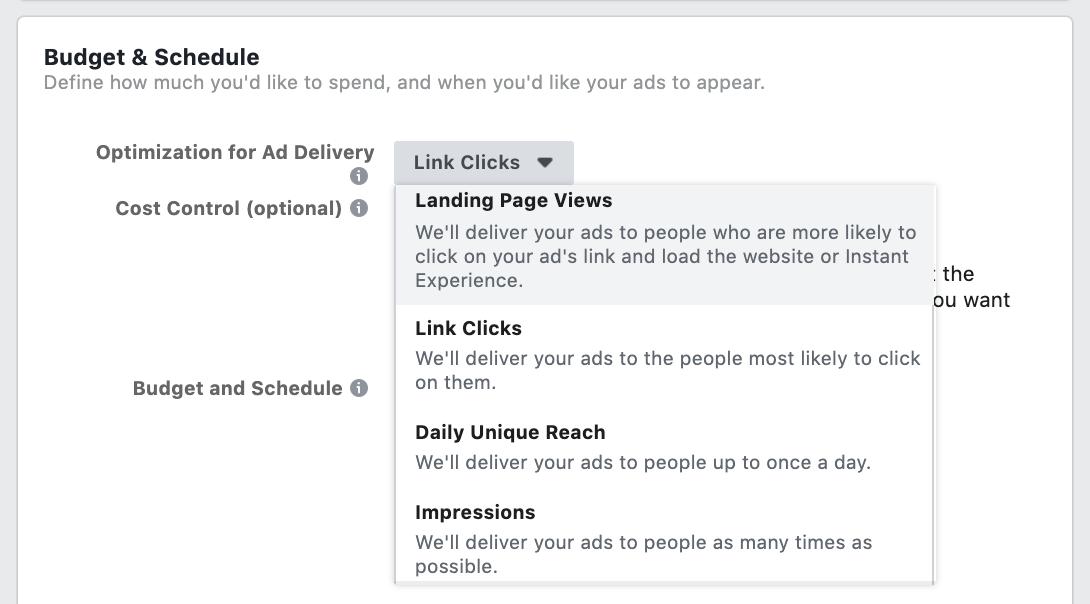 Facebook Ad optimization - Landing Page Views