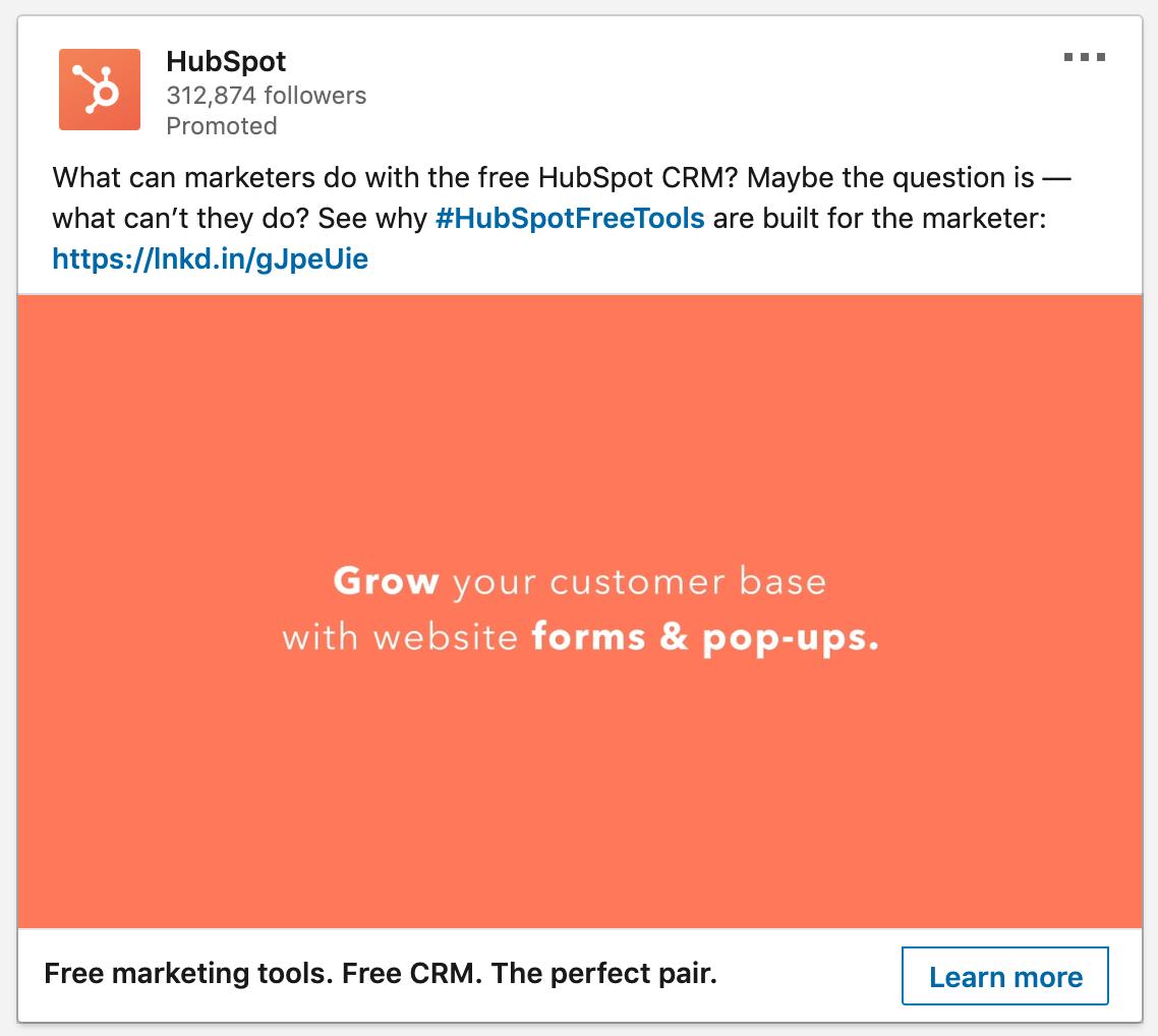 LinkedIn Ad - HubSpot