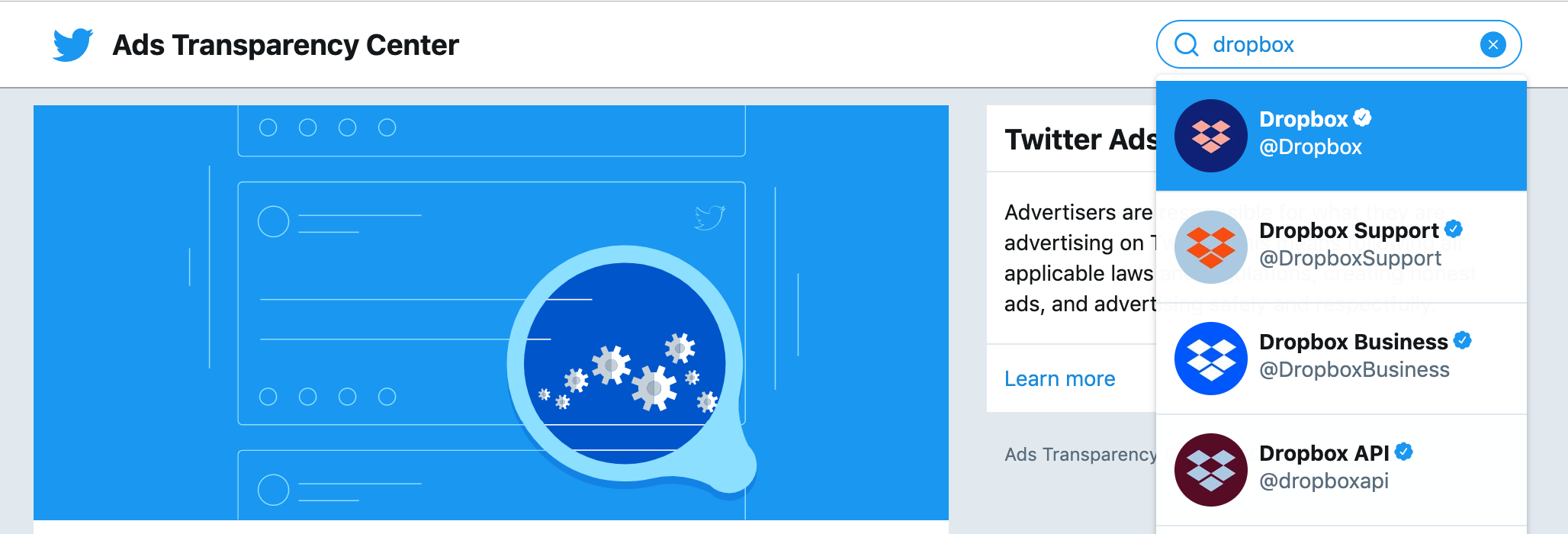 Twitter Ads Transparency Center search