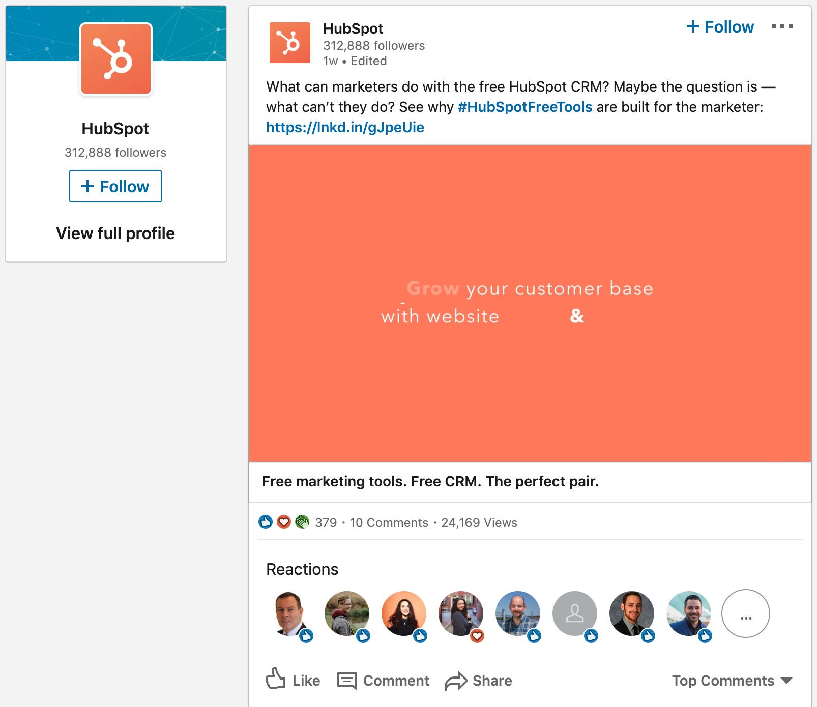 HubSpot LinkedIn Ad details