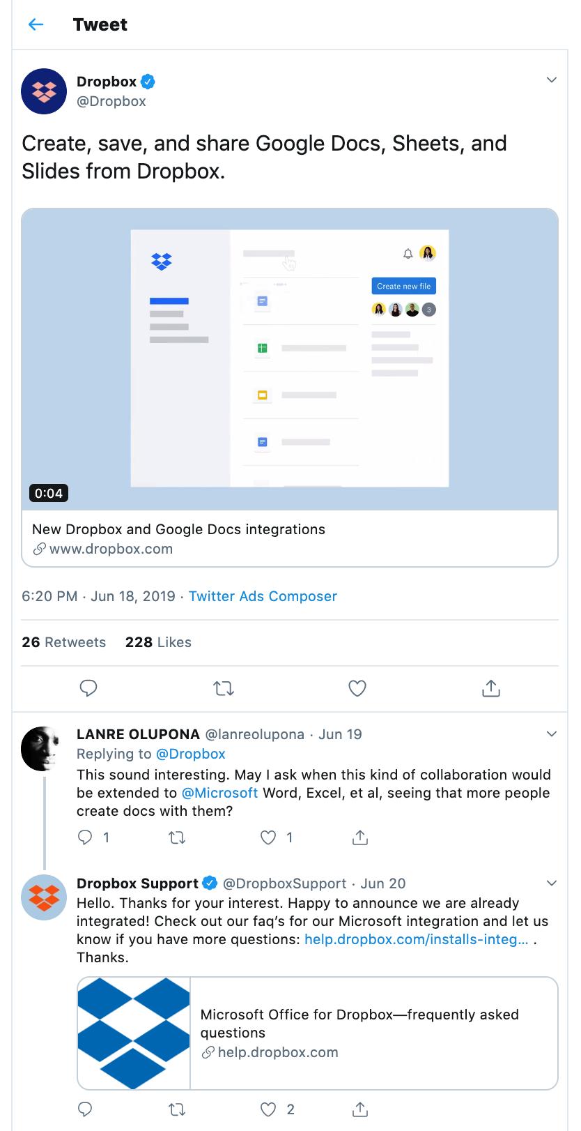 Dropbox Twitter Ad details