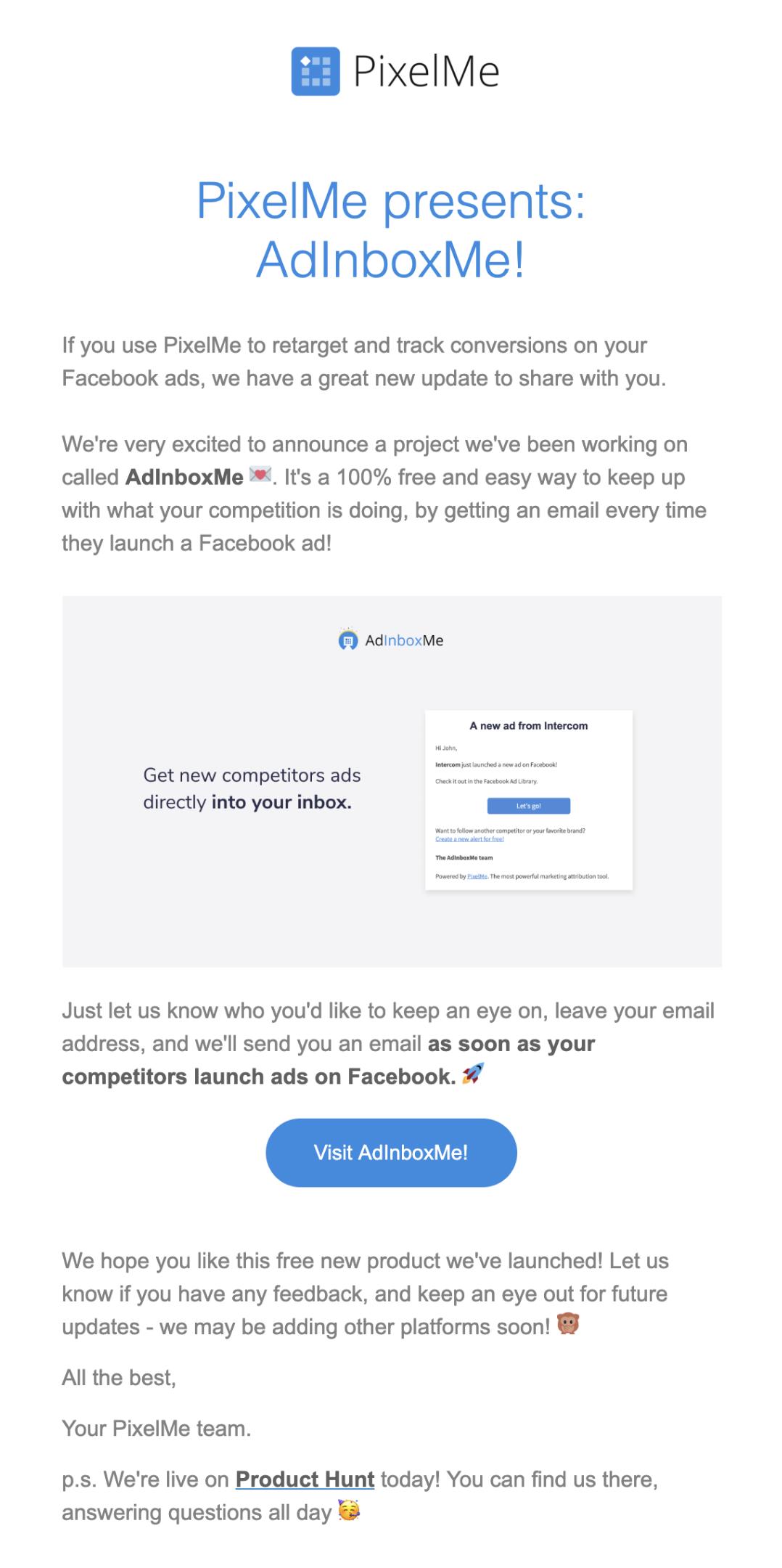 PixelMe email