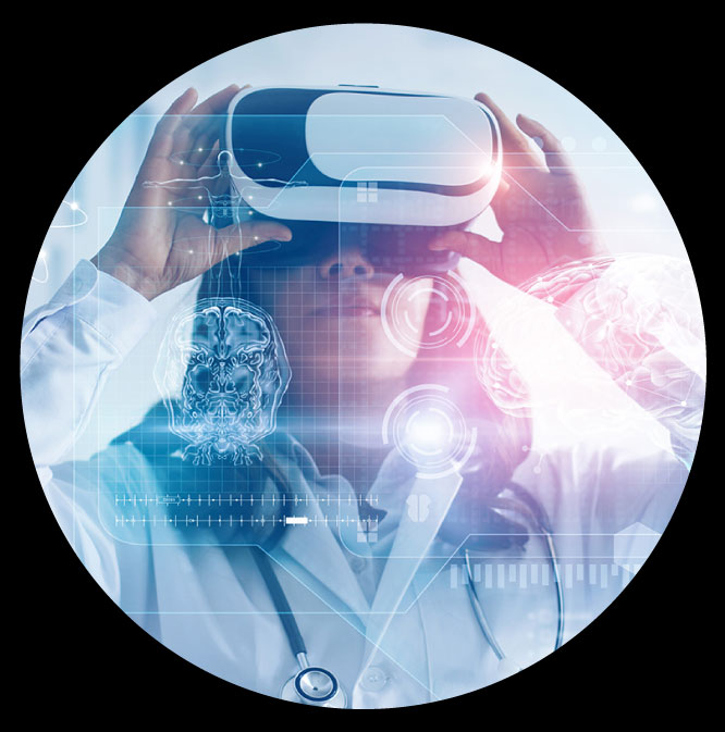 An image of a woman using a VR headset