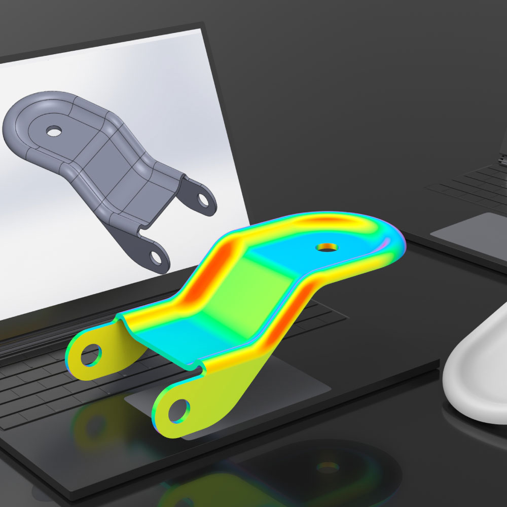 A render of an object used in the industrial manufacturing space sitting on top of a laptop's keyboard