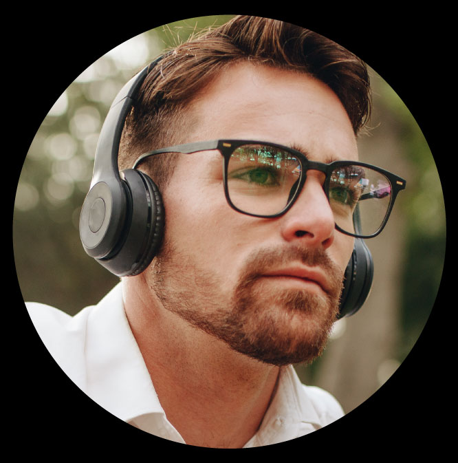 Man wearing sunglasses and headphones, products that benefit from ADM
