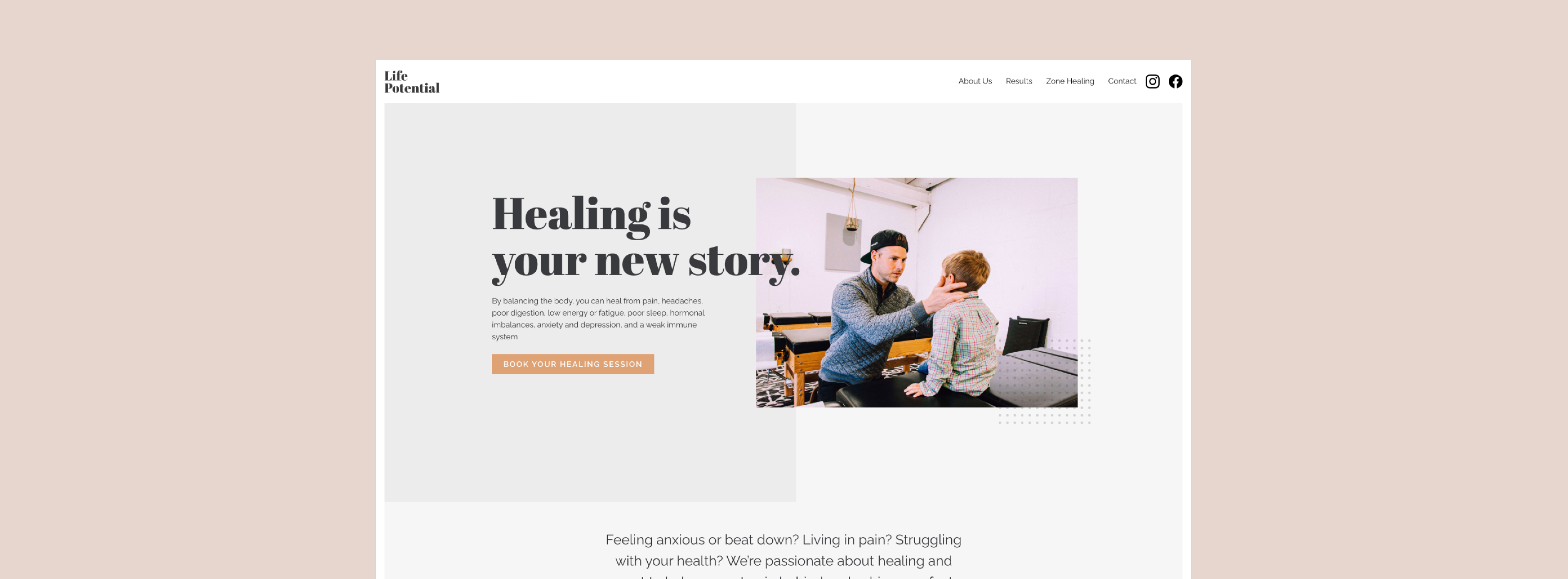 """Life Potential home page that says """"Healing is your new story"""""""