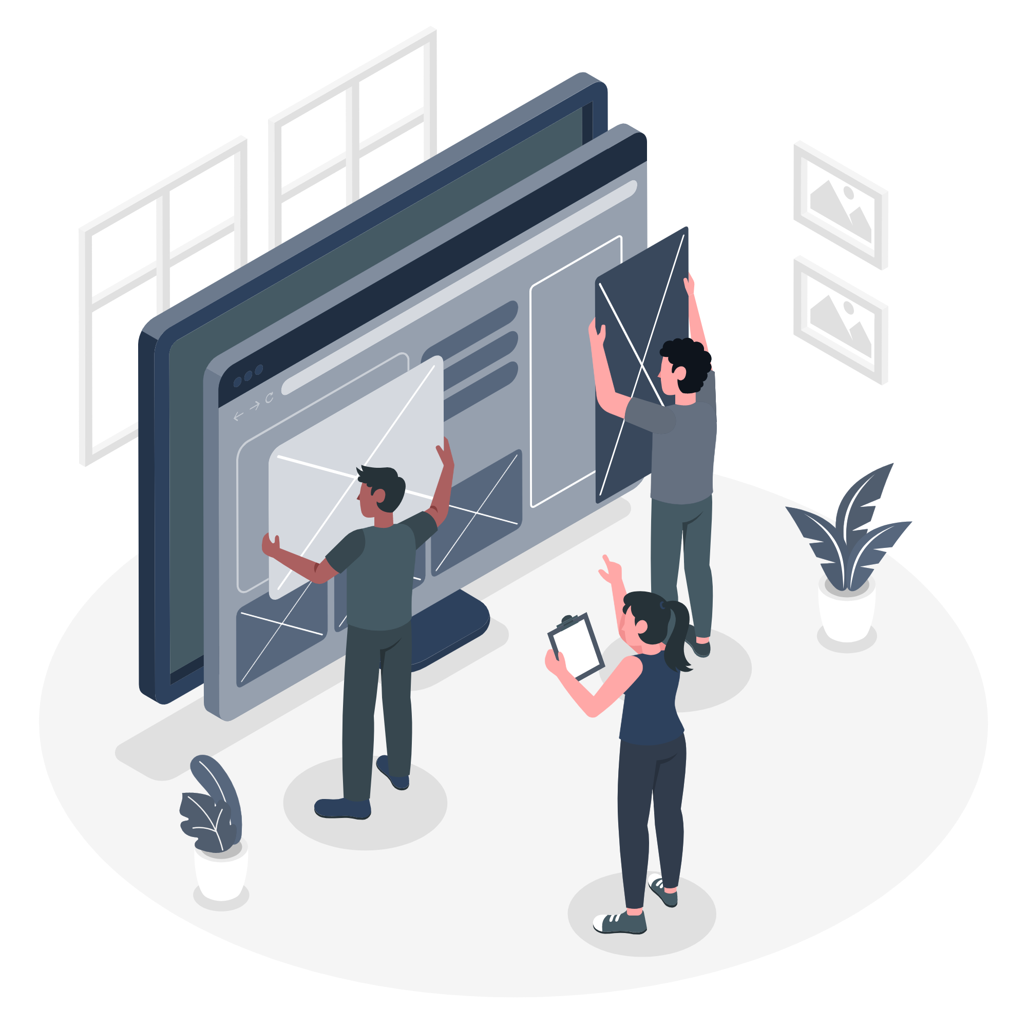 Illustration of designers building a website
