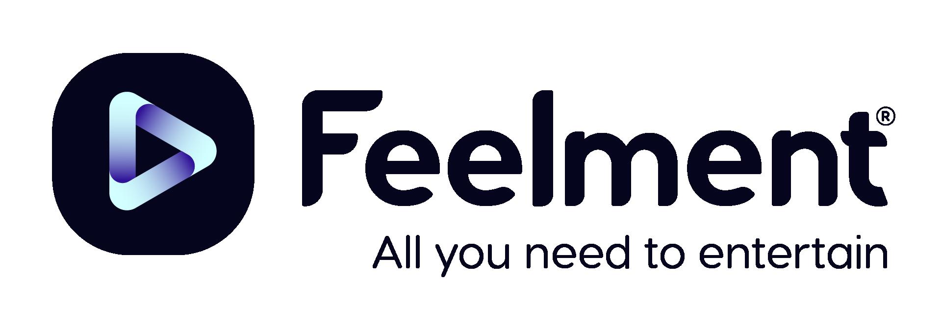 """Musta Feelment logo asiakaslupauksella """"kaikki mitä tarvitset asiakkaan viihdyttämiseen"""""""