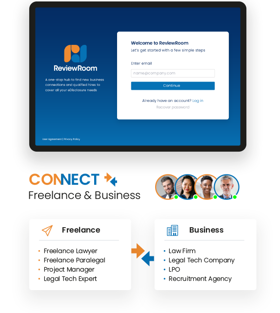 ReviewRoom sign in on device, Freelance & Business connect