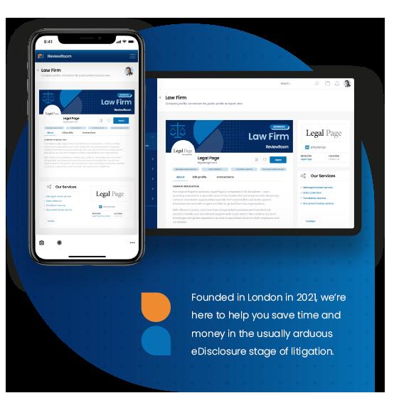 ReviewRoom sign in on mobile device, and platform displayed on desktop