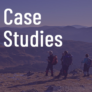 Case studies tile with biosphere in background