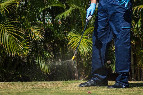 Un técnico de Faycanes desinfectando unos jardines