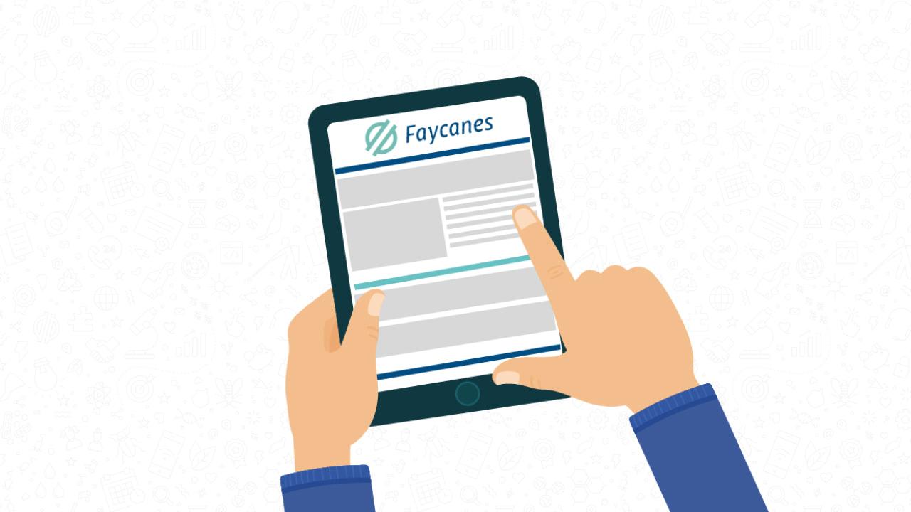 Ilustración de las manos de una persona con una tablet con la web de Faycanes