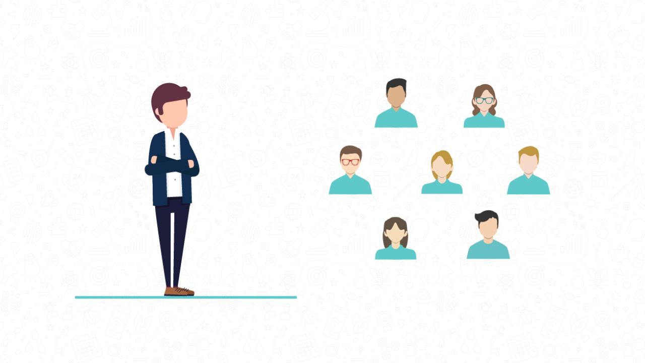 Ilustración de una persona con un grupo de personas