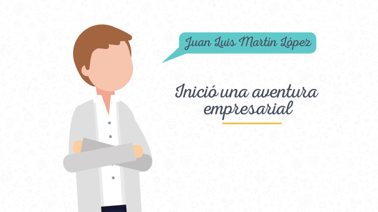Ilustración de una persona con un texto que dice: Juan Luis Martín López inició una aventura empresarial