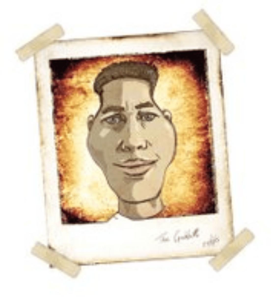 cartoony depiction of Grant Abbitt's portrait