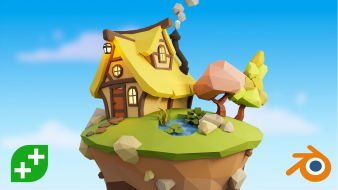 A video thumbnail showing a low poly cottage next to cartoony mushrooms