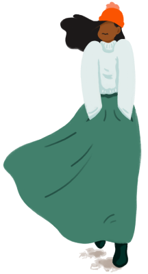 Brella Insurance illustration of woman in beanie