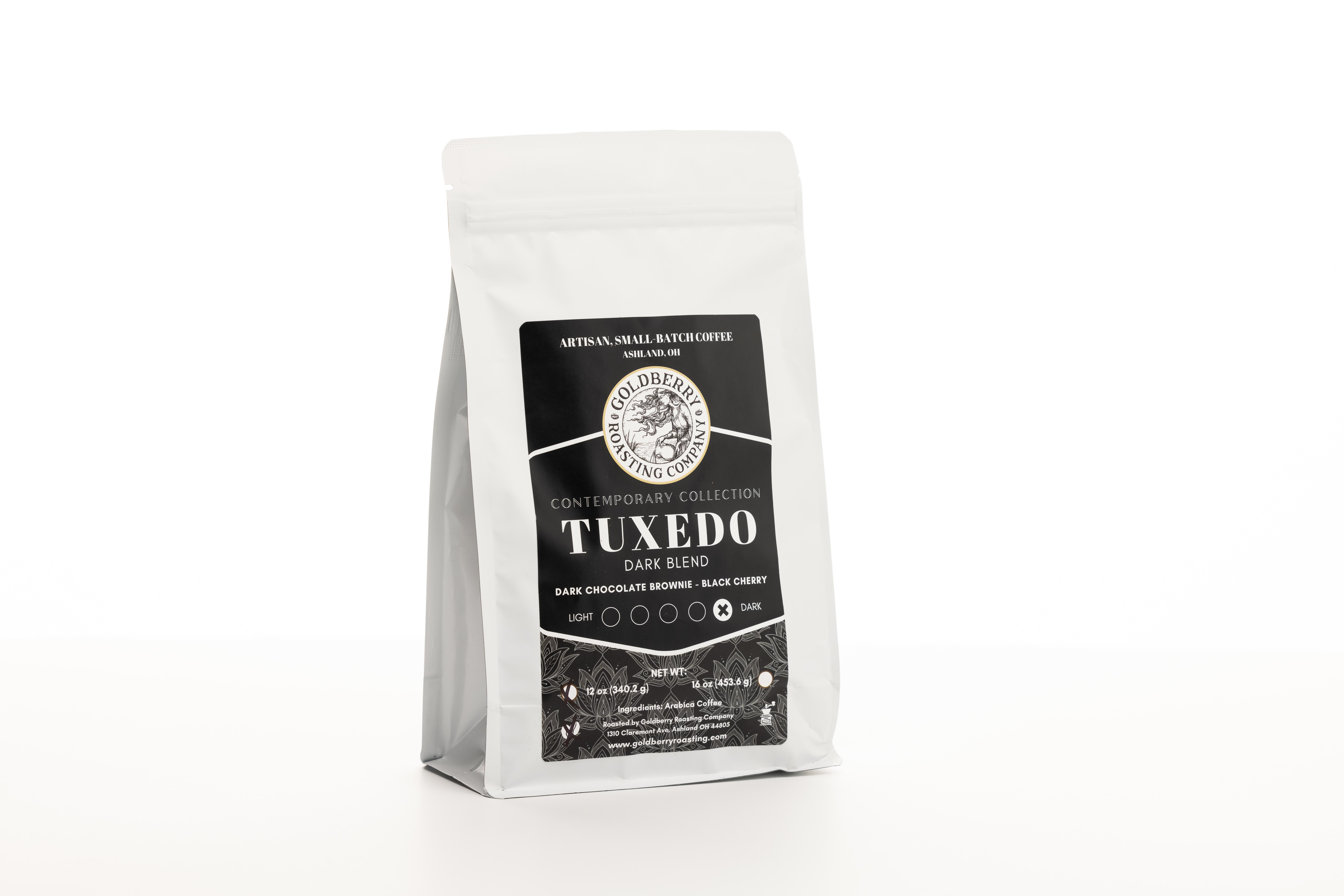 Tuxedo Dark Roast coffee from Goldberry Roasting Company.