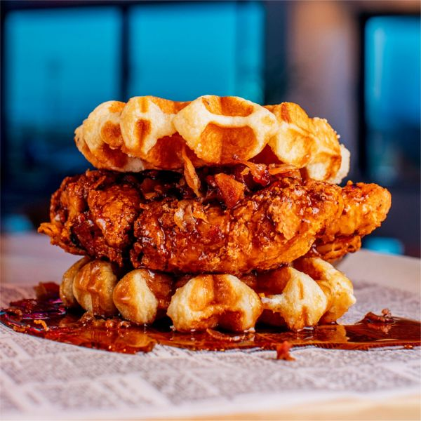 Chipotle French Toast Chicken Bacon Waffle