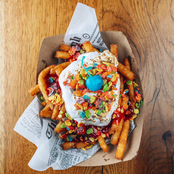 Fruity Pebble S'mores Funnel Cake Fries