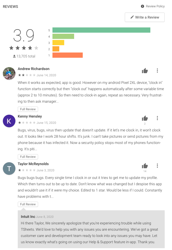 tsheets playstore review