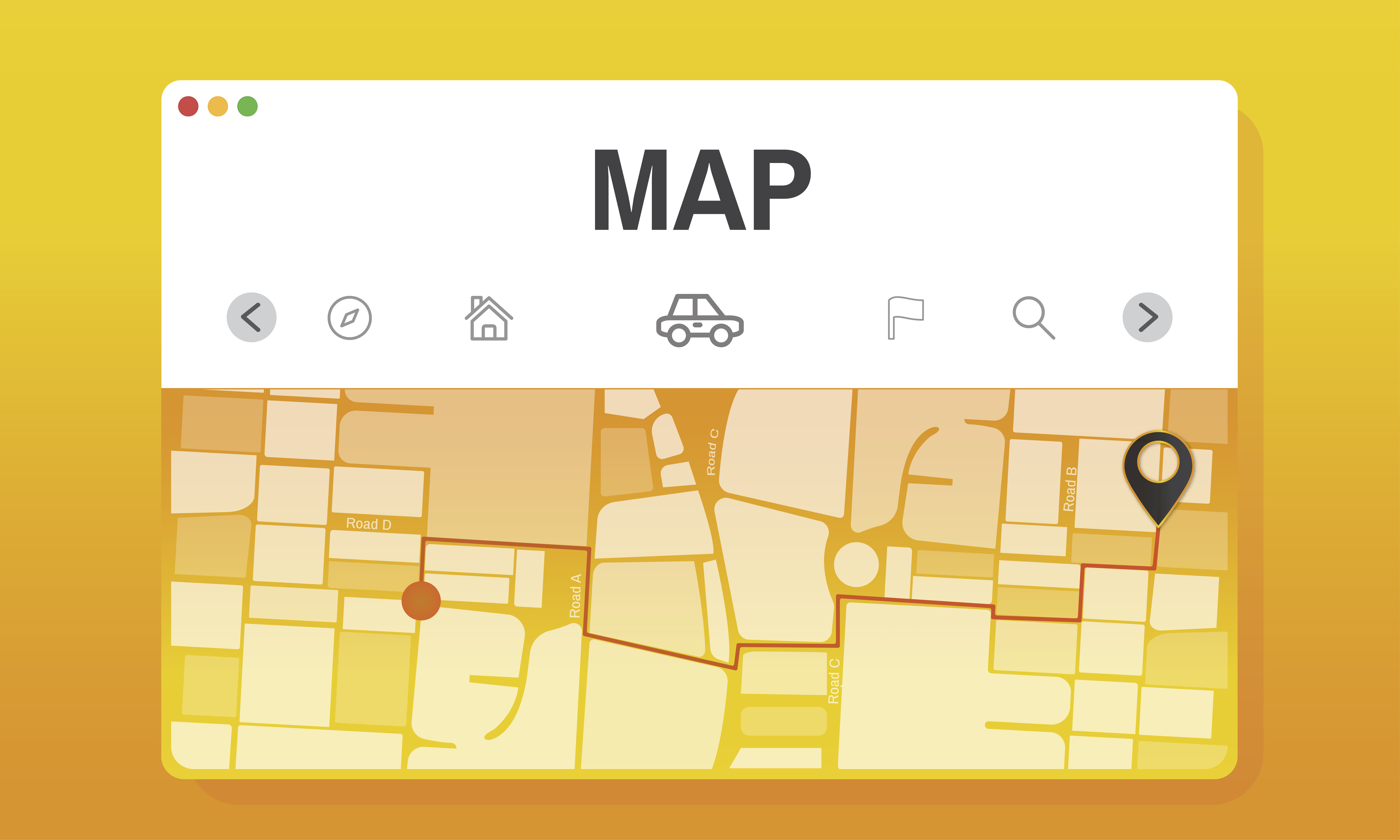 the visual shows a map in the field employee tracking process
