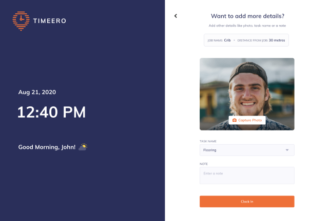Timeero's face recognition feature