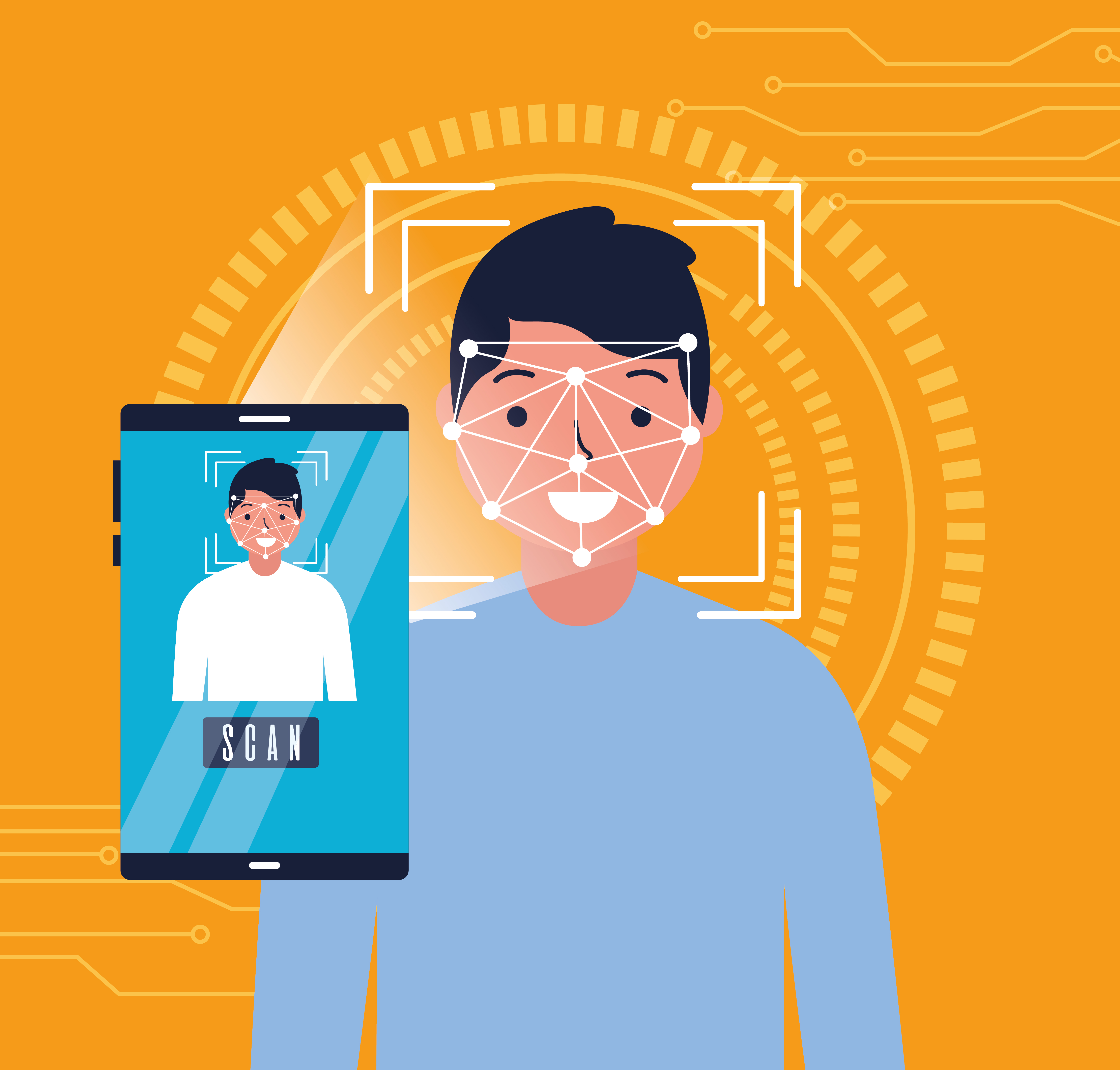 the visual shows face recognition feature as one of home health software benefits