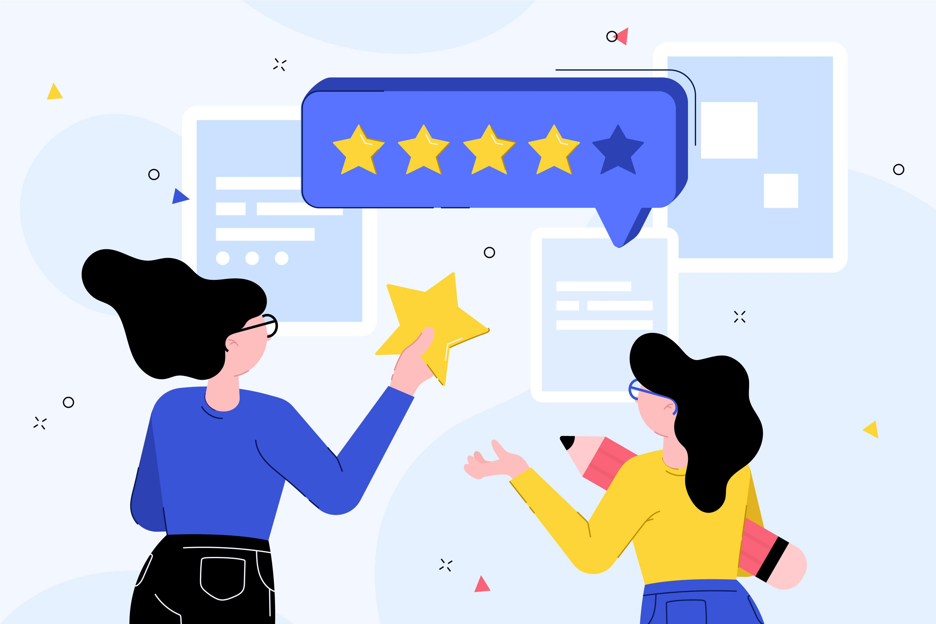 the illustration show two women giving five star review, which helps grow home care business