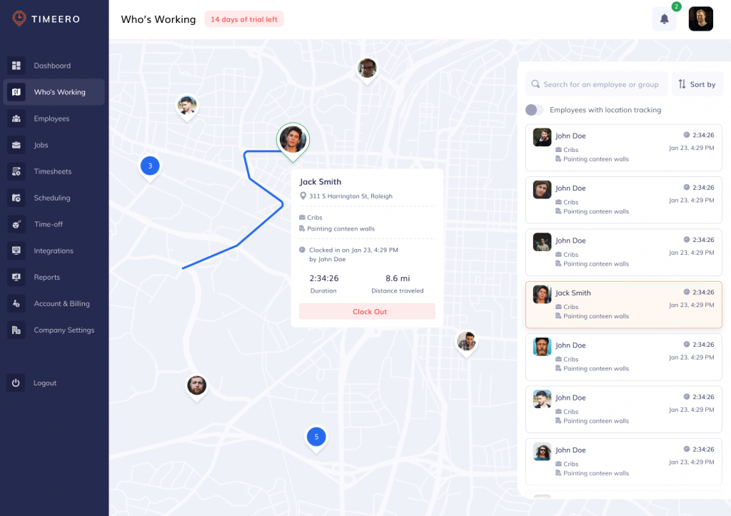 the screenshot shows Timeero mileage tracking dashboard that helps one grow their home care business