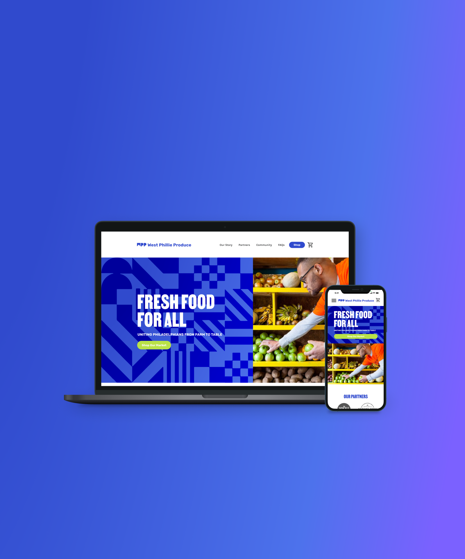 Purple blue background with macbook laptop and iphone website mockup
