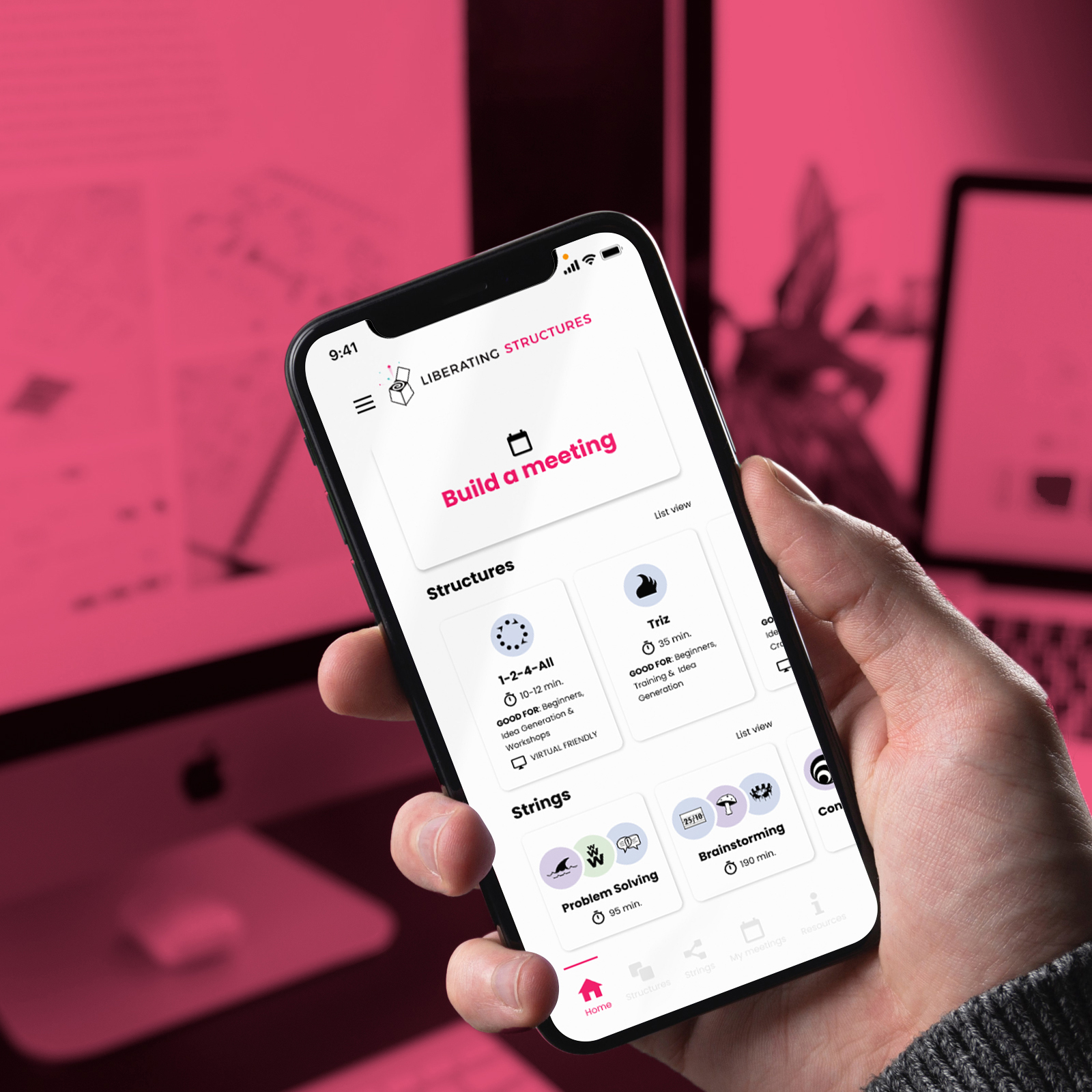 Pink monochrome photo background with hand holding iphone and app design