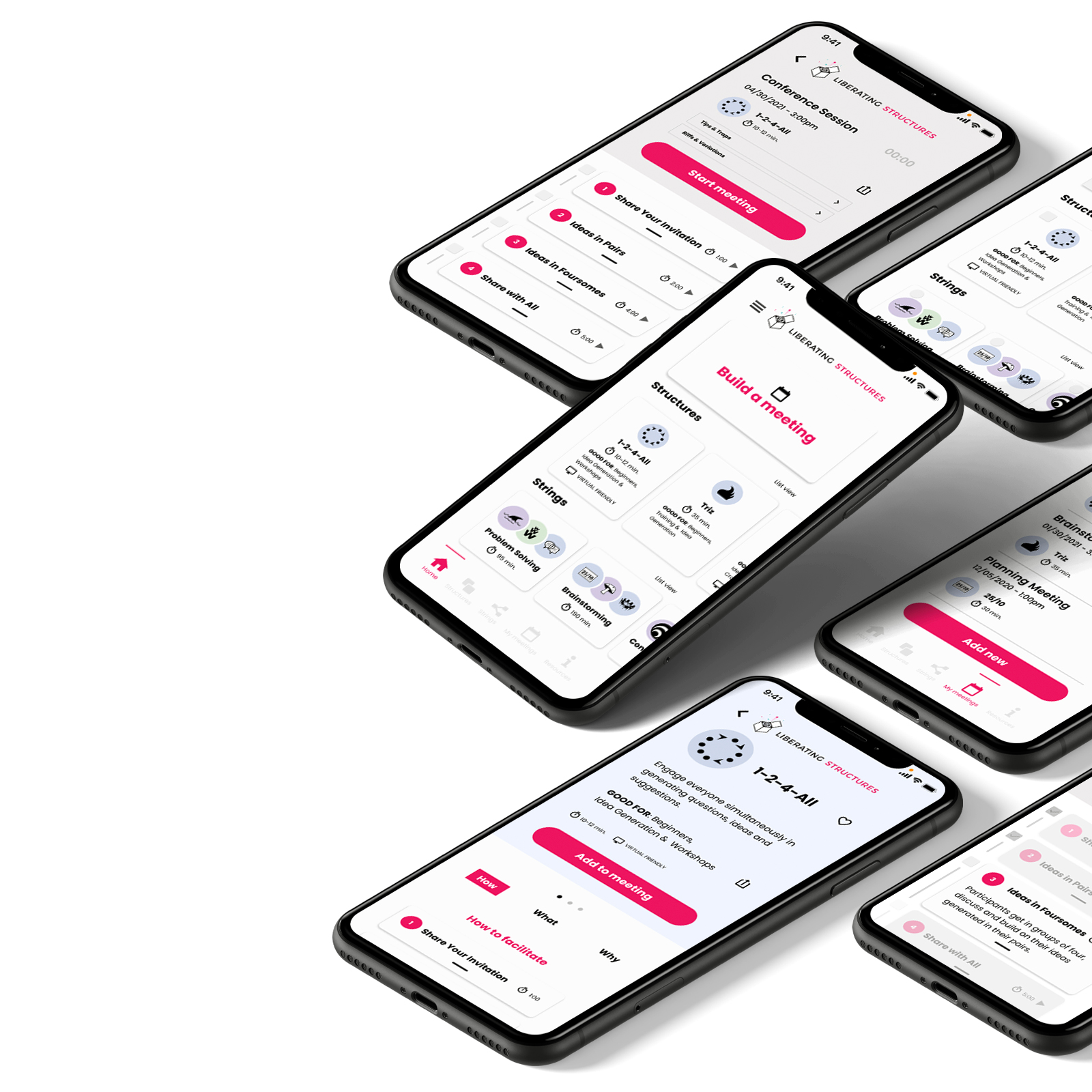 Iphones with Liberating Structures app redesign screens