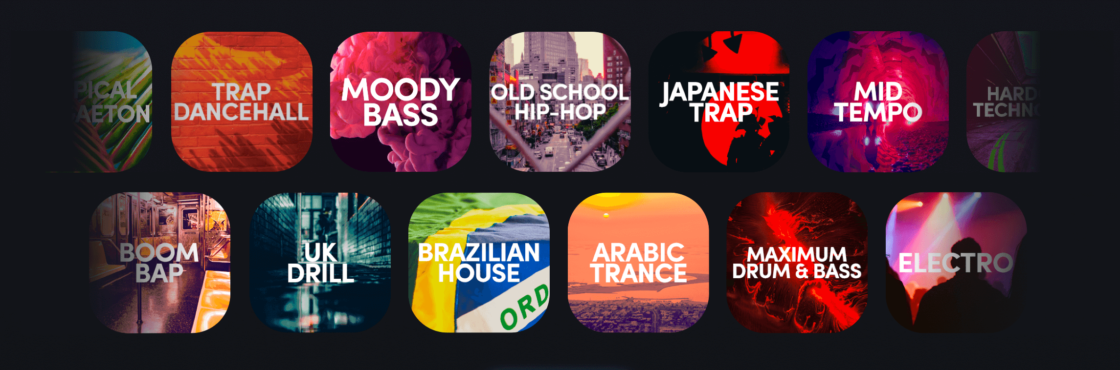 Showcase of packs from different genres available in Remixlive (Hip-Hop, Trap, Drum & Bass, Electro, Trance,etc)