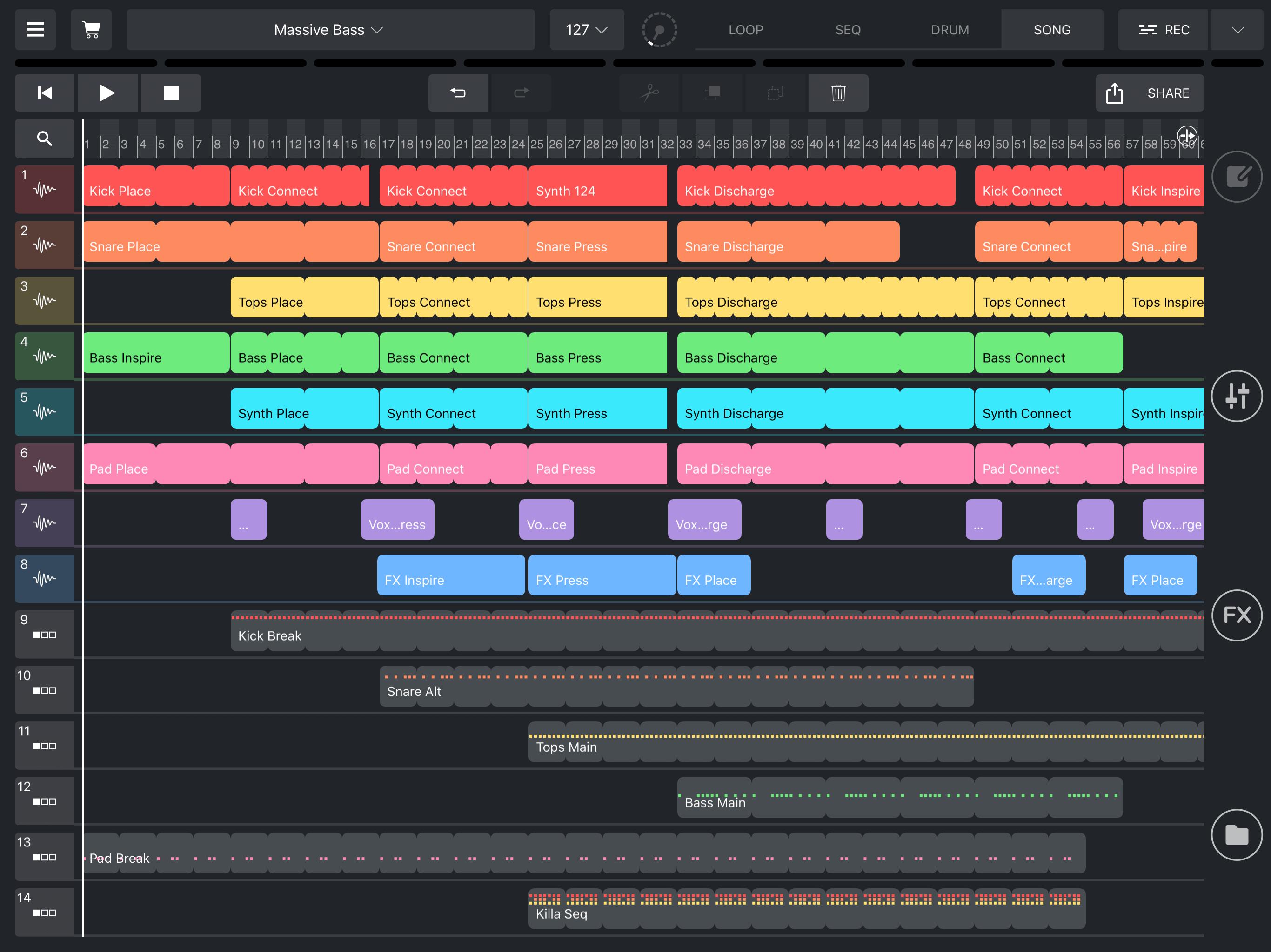 Remixlive's Song mode