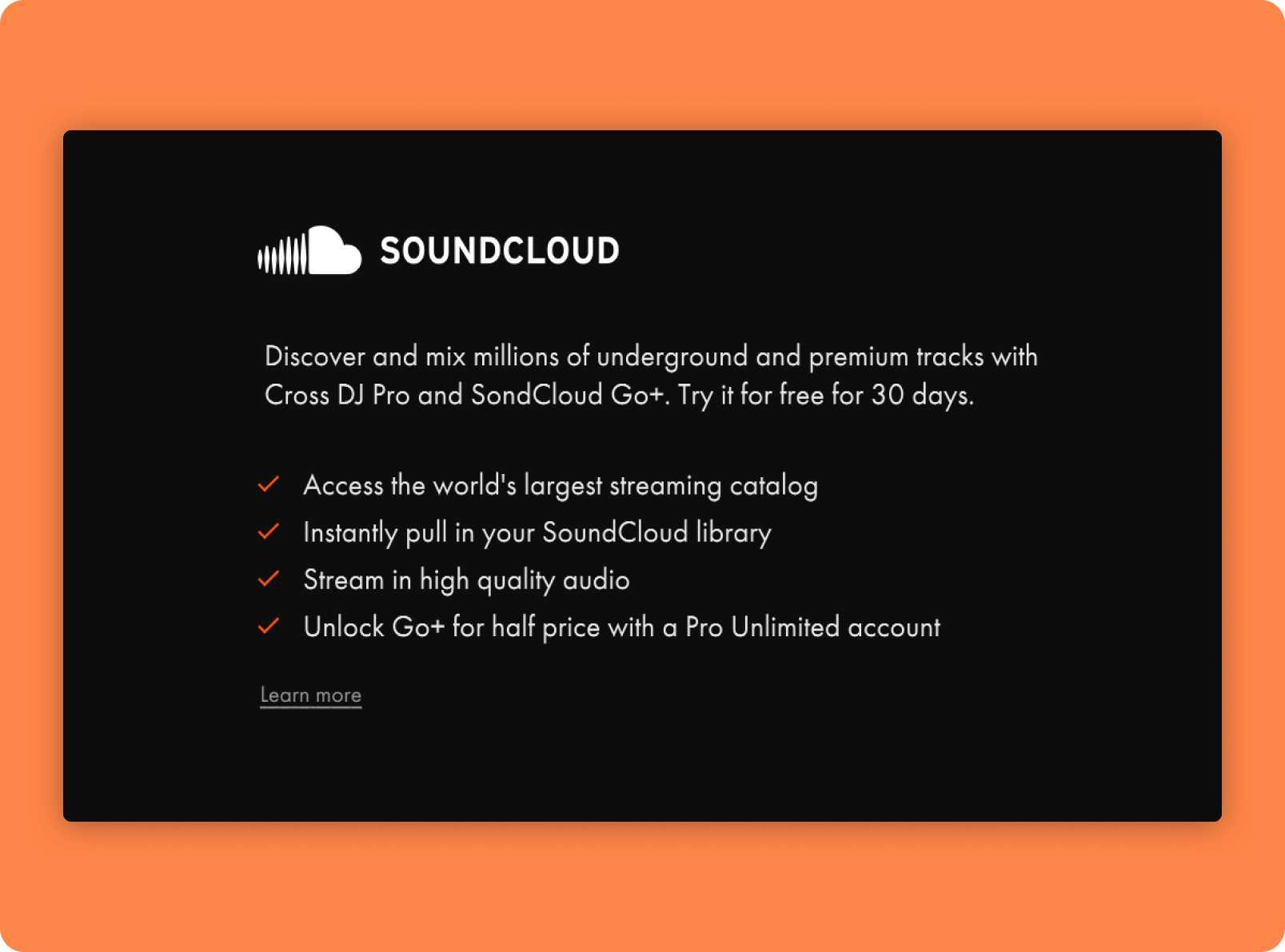 Cross DJ's Soundcloud Go+ integration