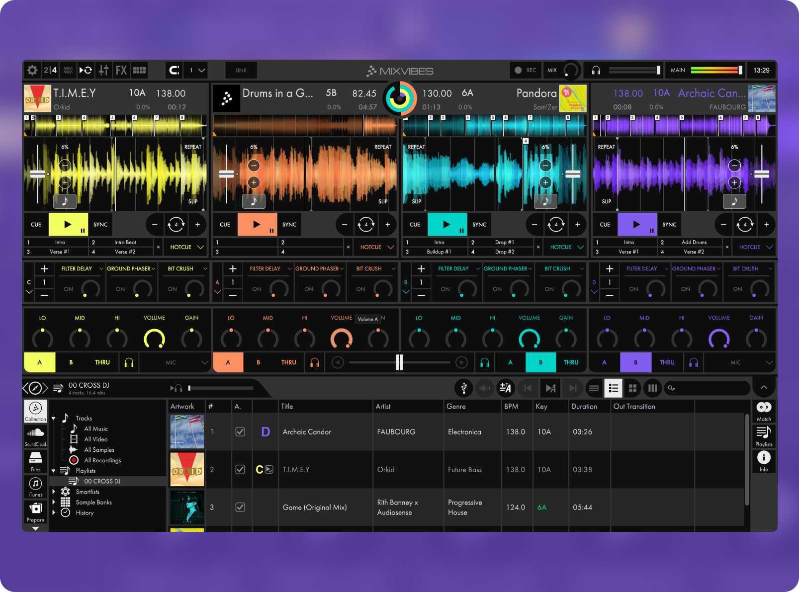 Cross DJ's 4 decks views and effects settings