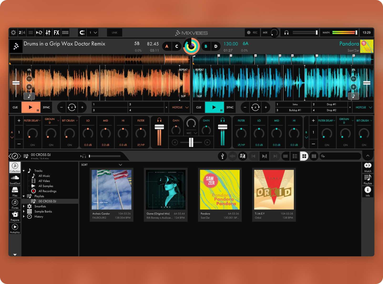 Cross DJ's 2 decks view