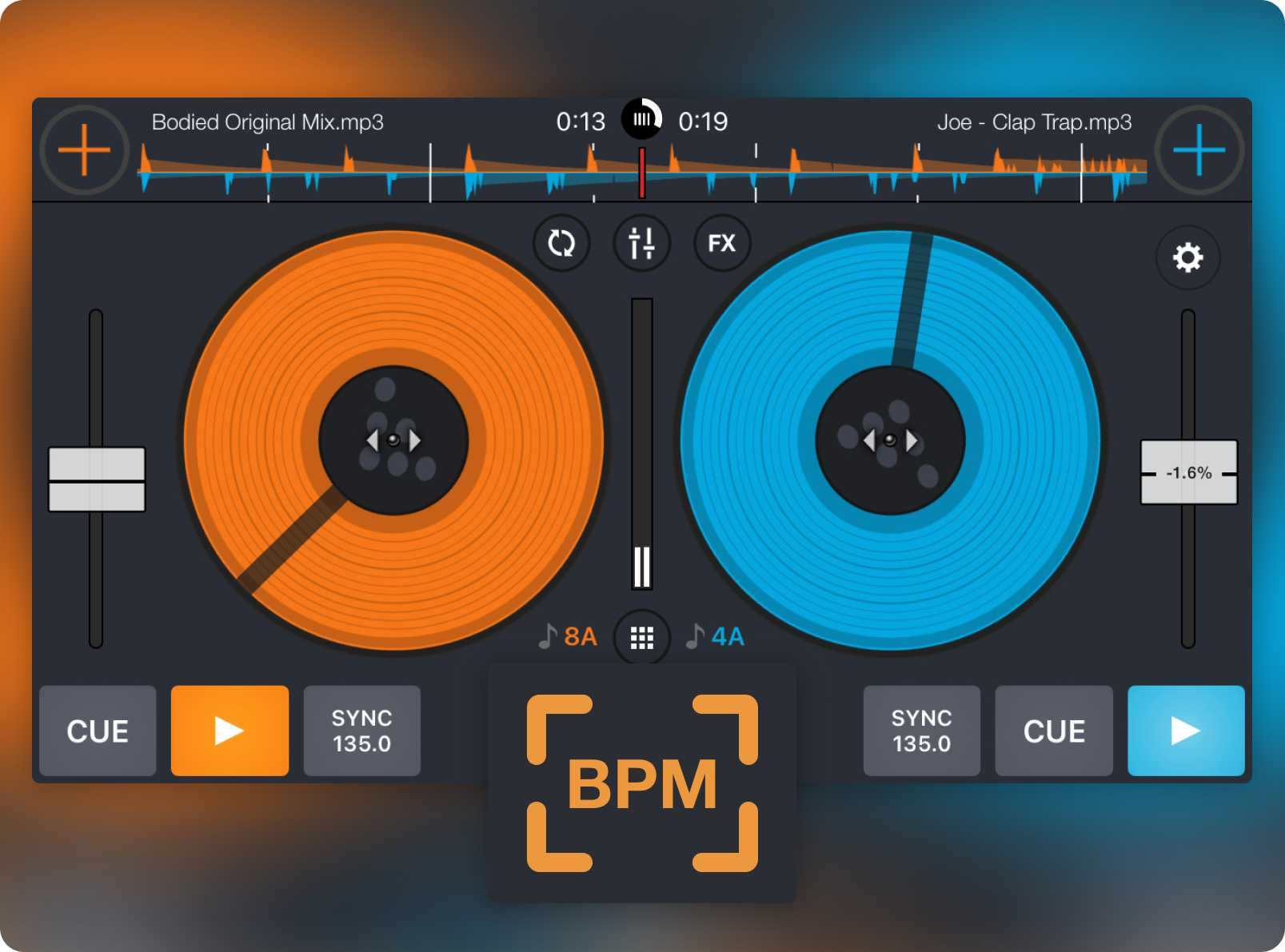 Cross DJ Free's turntable view and BPM detection