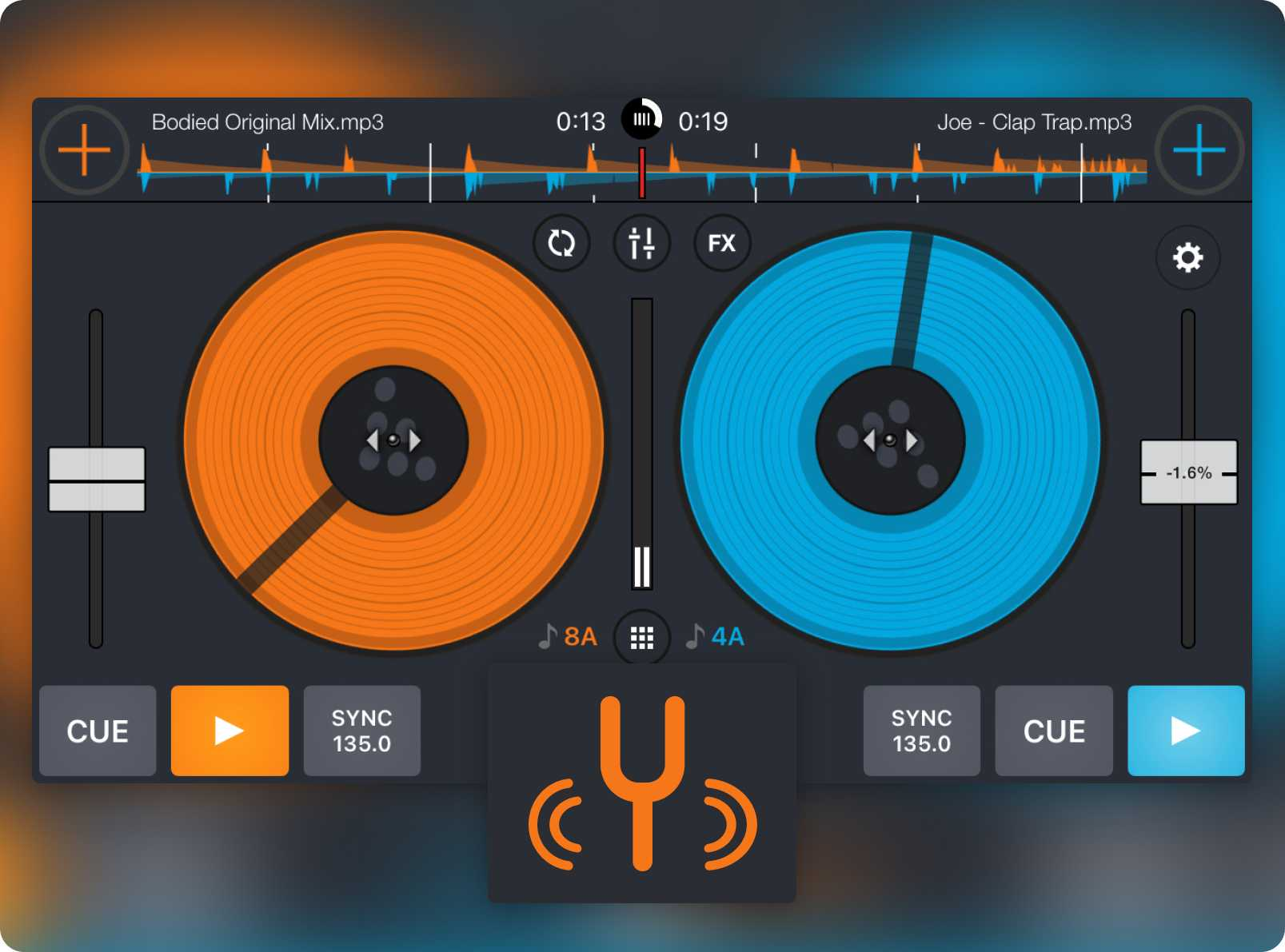 Cross DJ Free's turntable view and Key detection