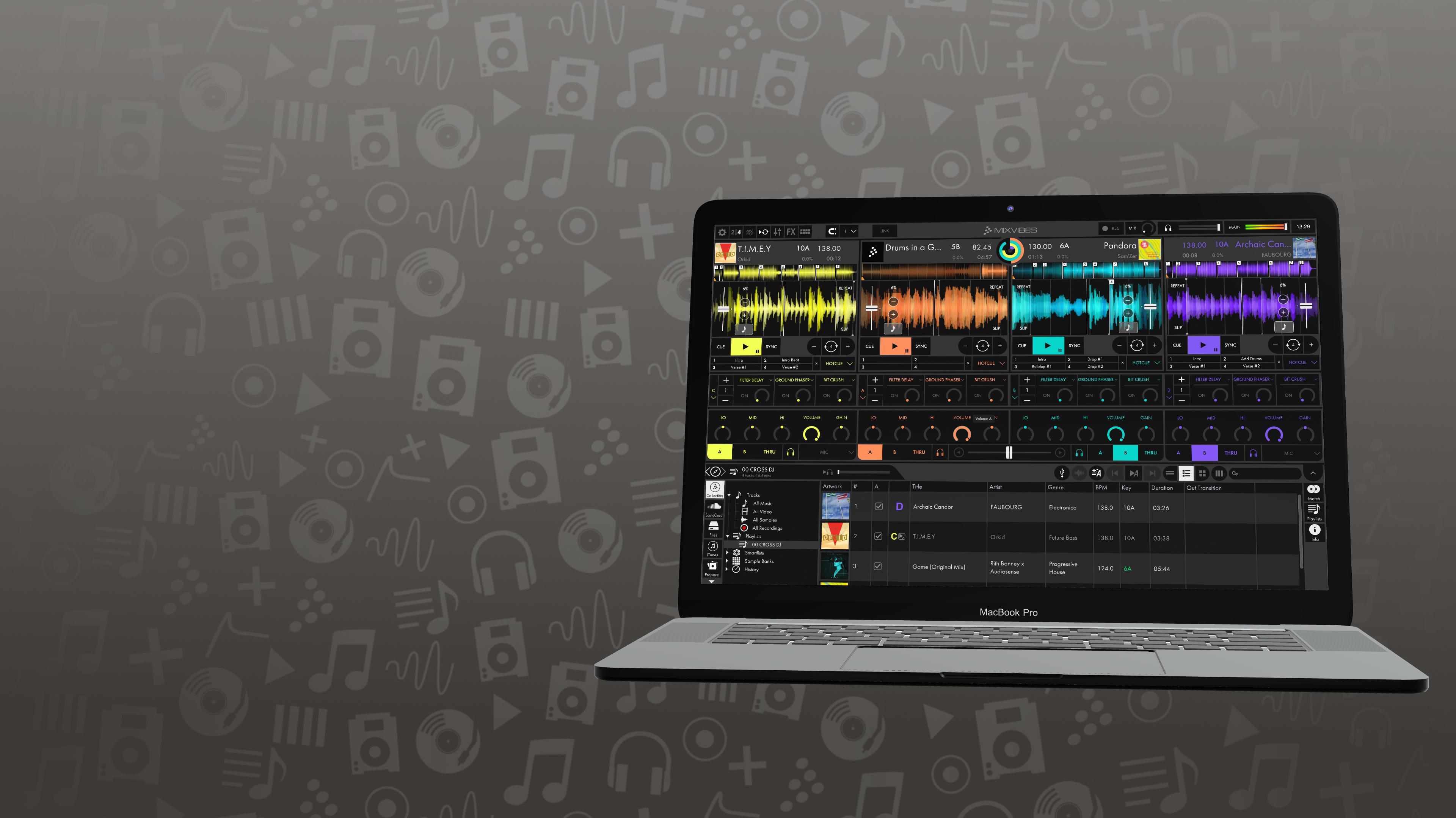 MacBook displaying Cross DJ 4's user interface
