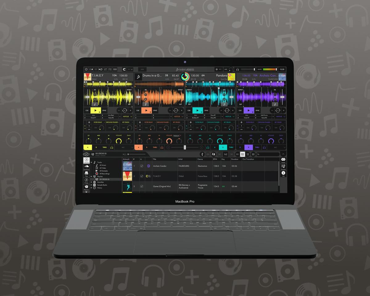 Macbook displaying Cross DJ 4 Pro