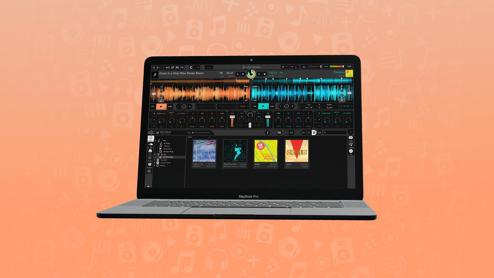 Macbook displaying Cross DJ 4