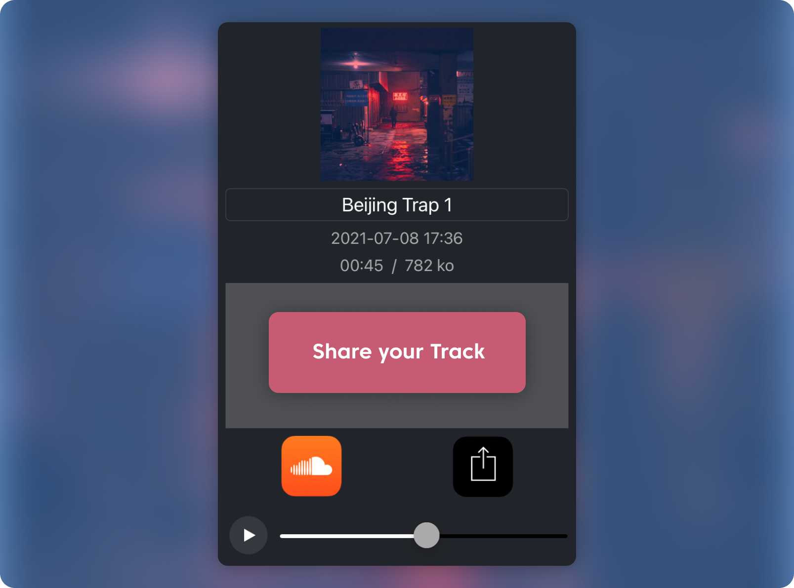 Beat Snap's share your track button