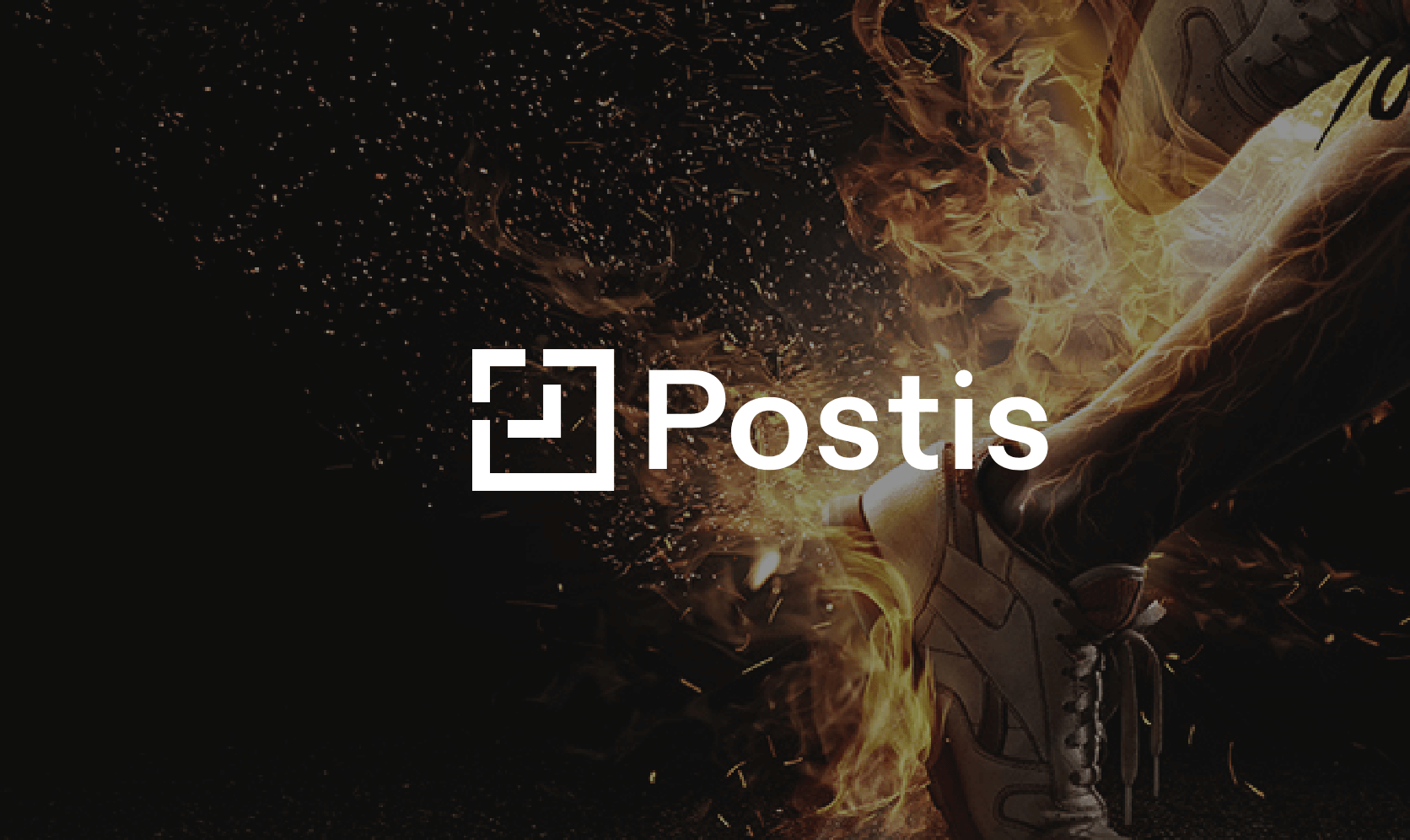 postis logo overlaid on an image of running shoes on fire