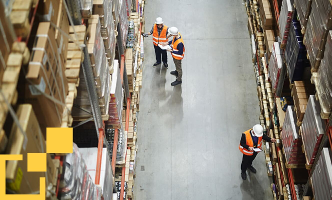top view of workers in a warehouse