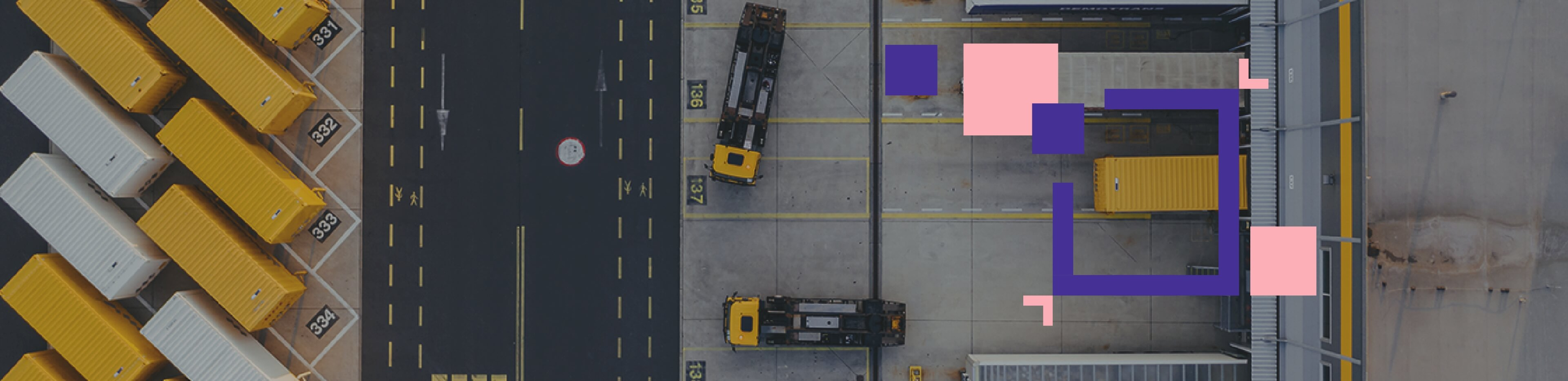 Warehouse parking lot top view
