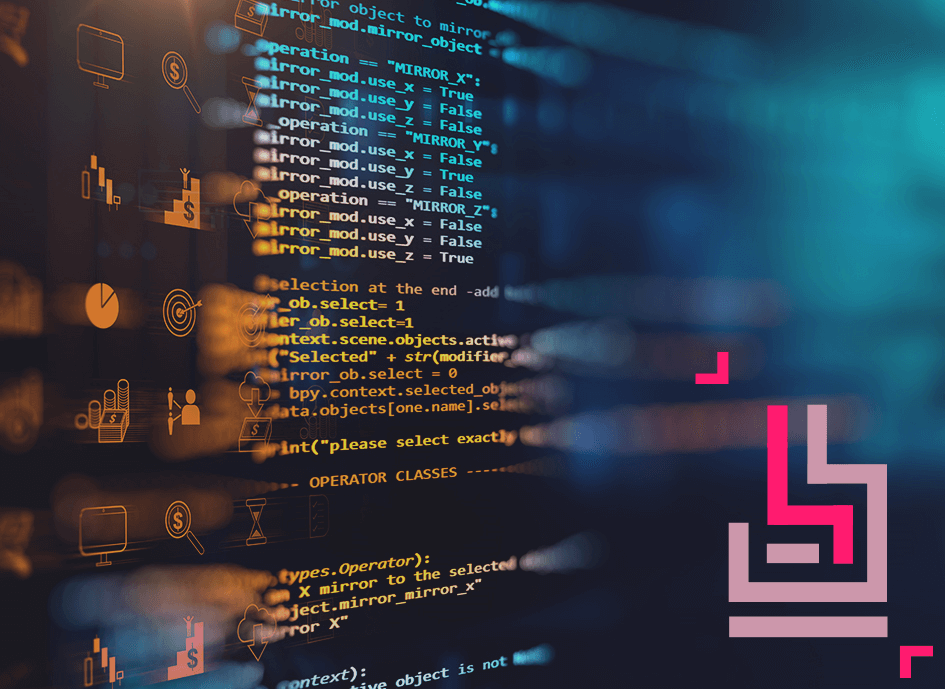 abstract illustration of code and icons